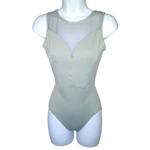 gray and mesh one piece swim suit